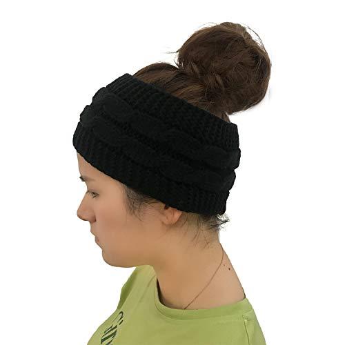 Punkt-Farbpunkt-Strickendes Knit-Haarband Mit Leerem Spitzenwollkappen-Pferdeschwanz-Kappen-22 * 11Cm Reinem Schwarzem