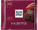 RITTER SPORT Halbbitter (12 x 100 g), Bitterschokolade mit 50% Kakao, zart-herbe, dunkle...
