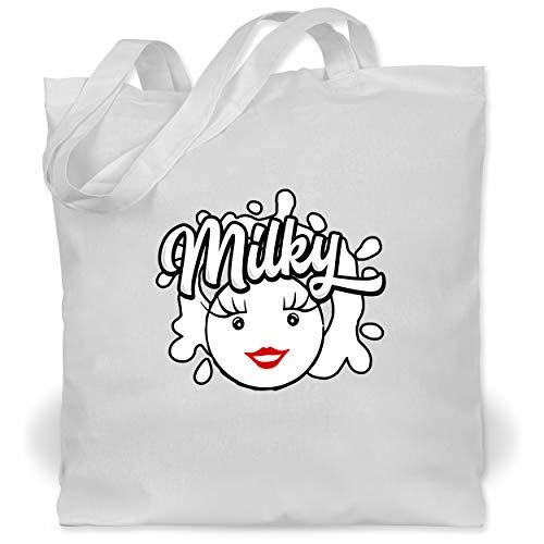Shirtracer Karneval & Fasching - Milky & Schoki Splash Milch - Unisize - Weiß - Milch - WM101 - Stoffbeutel aus Baumwolle Jutebeutel lange Henkel