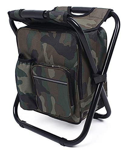Souva Folding Backpack Cooler Stool – Lightweight and Durable Camping Chair Travel Bag Made from Oxford Material and Steel Tube Frame for Picnic, Hiking, Fishing, Camping - 330.69 LBS Capacity