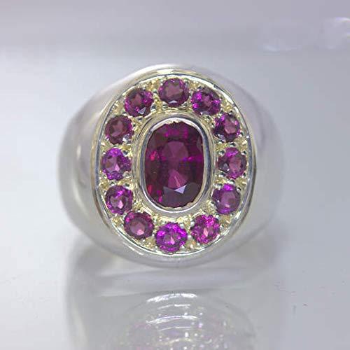 Rhodolite Garnets Raspberry Gems 925 Silver Ring size 10.5 Gents Halo Design 150