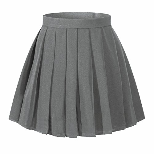 Beautifulfashionlife Girl's Japan School Plain Solid Pleated Costumes Skirts (M,Dark Grey)