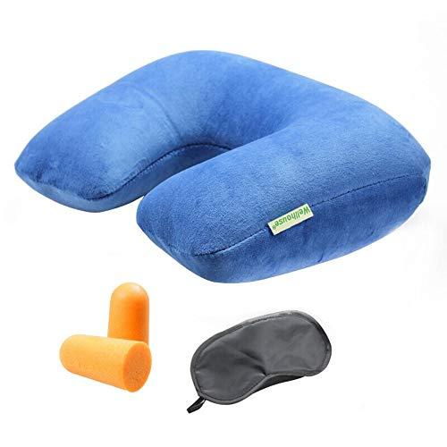 WYFDZBD Almohada Hinchable De Terciopelo De Algodón Cuello De Viaje Cojín En Forma De U con Máscara para Los Oídos Tapones para Los Oídos Conjunto De Viaje Azul Zafiro