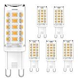 G9 LED leuchtmittel Warmweiß 2700K Kein Flackern 5W Entspricht 28W 33W 40W Halogenbirnen, G9 Kristall Deckenleuchten, G9 Fassung LED Lampen, AC 220-240V, 400lm, Nicht dimmbar, 5er Pack