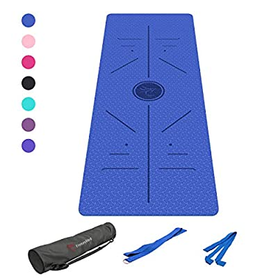 FrenzyBird 1/4-Inch Thick Exercise Yoga Mat with Alignment Lines Mat Bag and Strap, PVC Free, Ideal for Beginners and Advanced Yogis