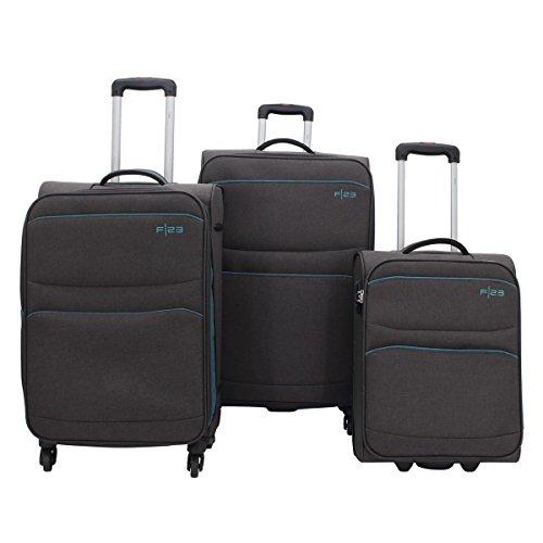 F|23 3-delig Trolley-set, polyester, Santa Cruz2.0, zwart/petrol, TSA-slot kofferset, 77 cm, 54,5 liter, zwart/petroleum