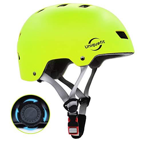 """UniqueFit Kinder Jugend Adult Verstellbarer Helm für Roller Radfahren Rollschuh (Yellow-Green, Small:50-54cm/19.7\""""-21.3\"""")"""