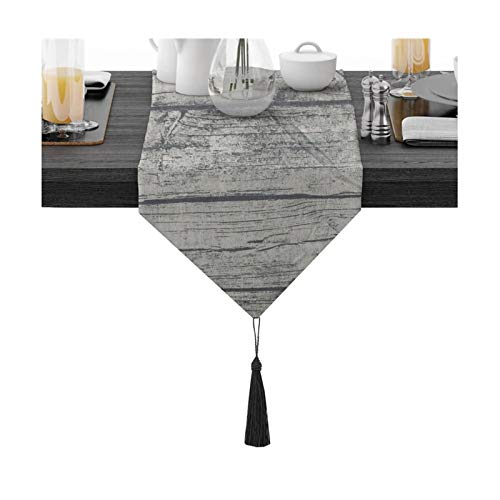 Cinnanal Gray Black Table Runner Decoration 30x220cm Cotton Table Runner Waterproof for Home Bedding Dining Room Party Holiday Decoration