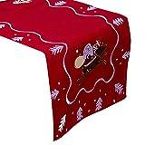 Fanuse Neue Stickerei Weihnachten Tischdecke 40X180 cm Weihnachten Tisch Flagge Weihnachten Tischdecke Weihnachten Tisch Dekoration Dekoration Rot
