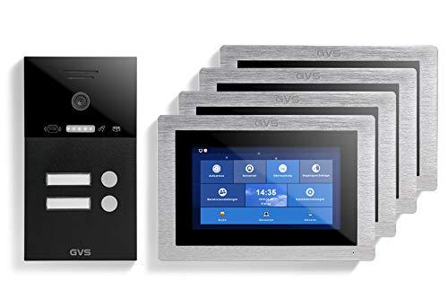 GVS AVS4308A - Videoportero IP (IP65, con RFID, monitor de 4 x 7 pulgadas, aplicación para el móvil, cámara HD de 120 °, función de apertura de puerta, 32 GB, conmutador PoE, 2 casas familiares)