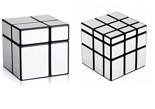 D-FantiX Shengshou Mirror Cube Set, 2x2 3x3 Mirror Blocks 2x2x2 3x3x3 Speed Cube Bundle Irregular Speedcube Unequal Puzzle Toys Silver