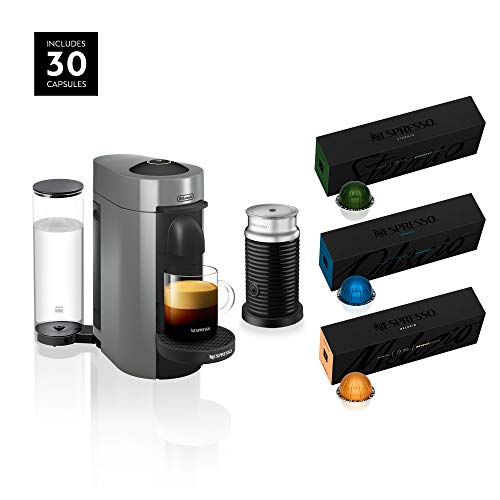 Nespresso ENV150GYAE VertuoPlus Coffee and Espresso Machine Bundle with Aeroccino Milk Frother by De'Longhi, Graphite Metal with Nespresso Vertuoline Coffee, Best Seller Assortment, 30 Capsules