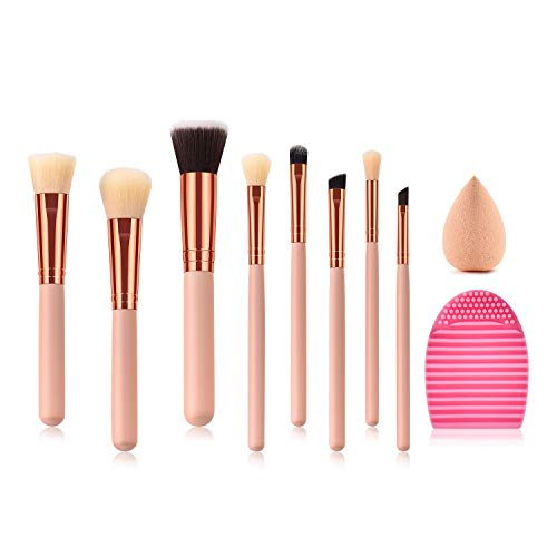 Mobeka Beauté Outils Brosse, 8 pièces en Or Rose Maquillage combiné Professionnelle mis en Brosse Kabuki Fondation Eyeliner Comestic Brosses