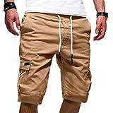 ✔piabigka✔ Pantaloncini Uomo Shorts Estivi Uomini Drawstring Pantaloncini Corti Bermud...