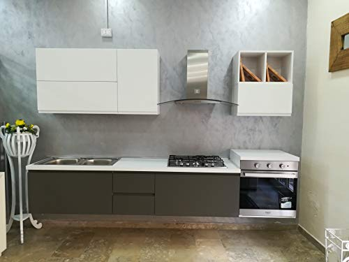 Cucina Sospesa - Modello Futura Misure: 285 Cm - Completa d'elettrodomestici Hotpoint Ariston - Pensili Laccato Bianco Opaco con Basi Laccato Talpa Opaco.