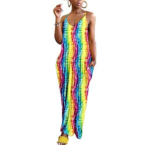 Lanbowo Femmes Boho Floral Robe Maxi Soirée Été Plage Robe Grande Taille - Arc-en-Ciel Bande, Medium