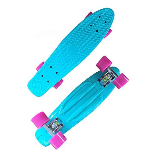 Yany 22 Zoll Komplettes Skateboard Plastik Mini Cruiser Retro Longboards Skateboard für Erwachsene Anfänger Mädchen Jungen, Max 220 lbs,Blau