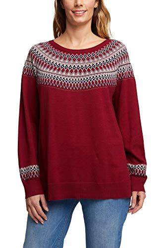 ESPRIT Damen 100EE1I339 Pullover, 603/BORDEAUX RED 4, 52