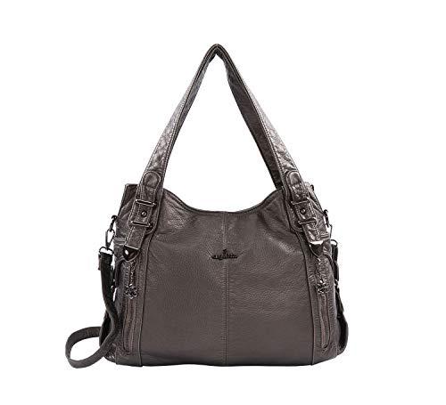 DEERWORD Damen Handtaschen Frauen Schultertaschen Umhängetaschen PU-Leder Bowlingtaschen Grau