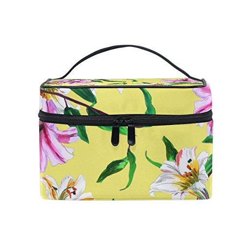 Coosun Jaune Floral Cosmétique Sac en toile Trousse de toilette Poignée supérieure simple couche Maquillage Organiseur de sac multifonction Sac de maquillage pour femme