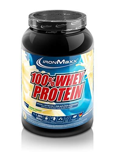 IronMaxx 100 Prozent Whey Protein Pulver Molke wasserlöslich, Geschmack Banane Joghurt, 900 g Dose (1er Pack)