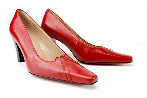 Ivan Troy Ami Women Italian Leather Pumps/Office Pumps Dress Shoes/Italian Shoes/Women Leather Dress Shoes/Women Pumps 3-inch Heel (Red, Numeric_8)