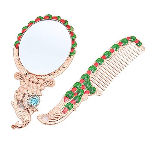 Bmstjk Miroir Peigne Ensemble Miroir De Maquillage, Vanity Desk Kit Mini De Poche Rétro Motif De Paon Miroir De Maquillage, pour La Maison Dortoir Bureau Voyage
