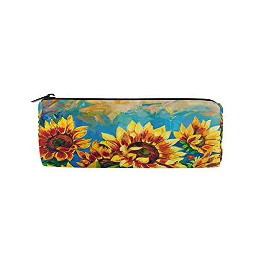 HaJie - Estuche para lápices con diseño de girasoles y hojas florales con cremallera, organizador para niñas, niños, mujeres, hombres