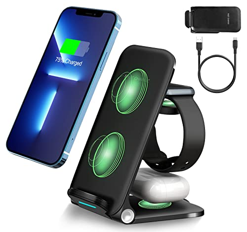 iPhone 13 Pro Max Wireless Charging Station, Upgrade Fast 3 in 1...