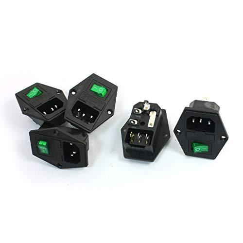 Aexit 5Pcs Grüne Kontrolllampe 3P Wippschalter Sicherungshalter IEC320 C14 Einlass Steckdose (7f0c9449e2cbe47b48872ec77f3c53d4)
