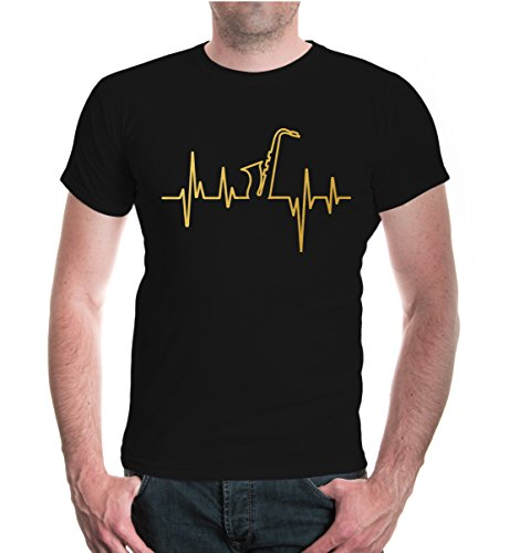buXsbaum® Herren T-Shirt Musikfrequenz Saxophon | Instrument Musik Blasmusik Orchester | S, Schwarz
