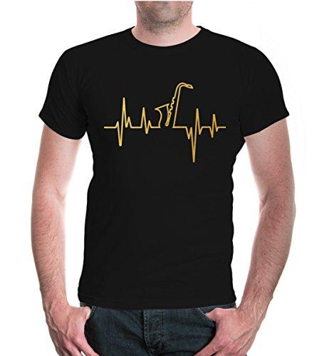 buXsbaum® Herren T-Shirt Musikfrequenz Saxophon | Instrument Musik Blasmusik Orchester | XL, Schwarz