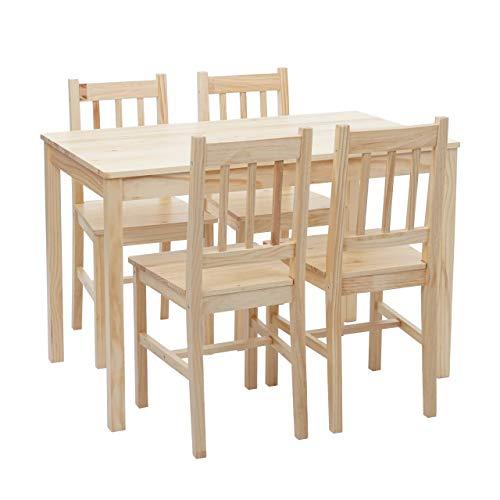 Mendler Esszimmer-Set HWC-F77, Sitzgruppe Esszimmergruppe, Massiv-Holz Landhaus 110cm - Kiefer lasiert