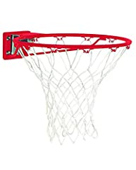 2 7/8 inches x 2 1/2 inches mounting bracket Heavy-duty steel rim Ultra-smooth spring breakaway action Includes all-weather net Backed by Spalding's Warranty