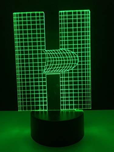 DFDLNL Lámpara 3D Alfabeto Letra H Multicolor Mesa de Escritorio Bombilla Led USB Touch Nightlight Decoración del hogar Estantes de Noche para niños
