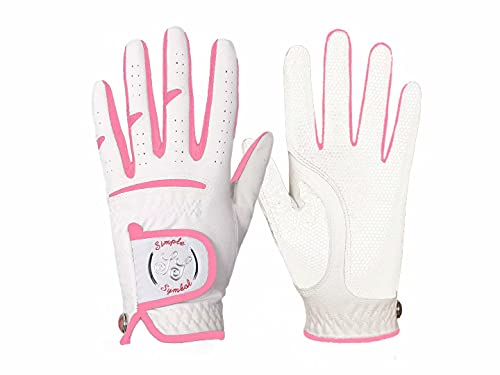 Simple Symbol Women's Golf Glove High Grade Leather Five Colors ,Red/Pink/Navy Blue/Black/Beige, Left Hand Right Hand(Pink,M,Right)