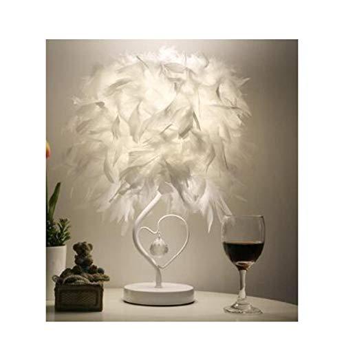 Mesita de noche Sala de lectura Salón en forma de corazón Lámpara de mesa de cristal de plumas para dormitorio Luz art deco home planetarium-White_dimming_switch