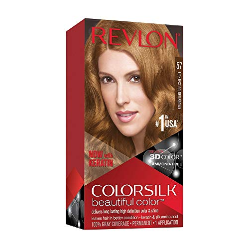Revlon Colorsilk Beautiful Color, Permanent Hair Dye with Keratin, 100% Gray Coverage, Ammonia Free, 57 Lightest Golden Brown
