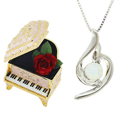 [デバリエ] (ムーンストーン(6月誕生石)) 月誕生日プレゼント 女性 人気 彼女 母 贈り物 ネックレス レディース 贈り物 セット品(ピンクオルゴール1組 ネックレス1組) ラッピング付