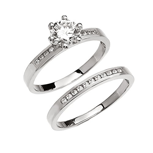 Diamond Channel-Set White 9 ct Gold Engagement and Wedding Ring Set with 1 Carat White Topaz Center Stone MII