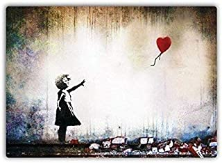 Tisigns Retro Metal Tin Signs Tin Sign 8x12 Inches Heart Baloon Girl Metal Wall Sign Plaque Wall Art Inspirational Restaurant Bar Pub Home Art Decor Funny Wall Sign