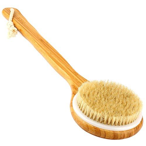 H&S Body Brush Back Scrubber Long Handle Bath Shower Brush Natural Bristles...