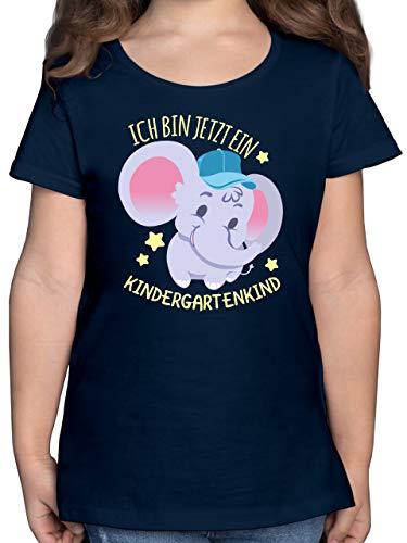 Kindergarten - ich Bin jetzt EIN Kindergartenkind - Süßer Elefant - 104 (3/4 Jahre) - Dunkelblau - Kindergarten - F131K - Mädchen Kinder T-Shirt