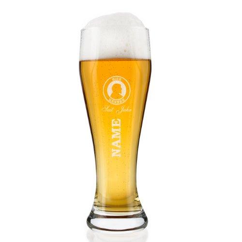 Herz & Heim® Weizenglas 0,5l (Bohemia) - Bier Kenner- mit Gratis Gravur des gewünschten Namens und Geburtsjahr