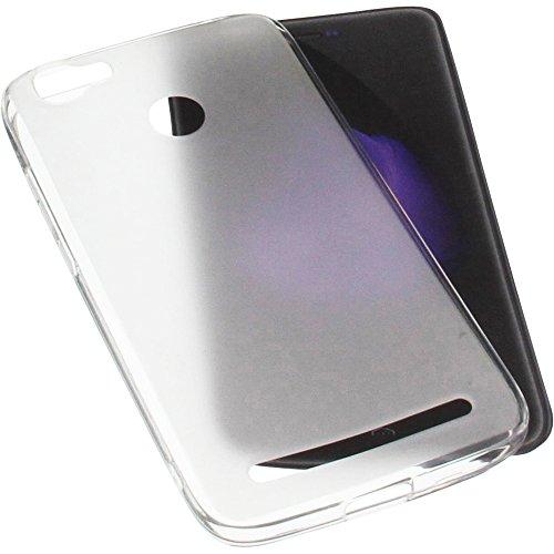 foto-kontor Tasche für HomTom HT50 Gummi TPU Schutz Handytasche transparent weiß