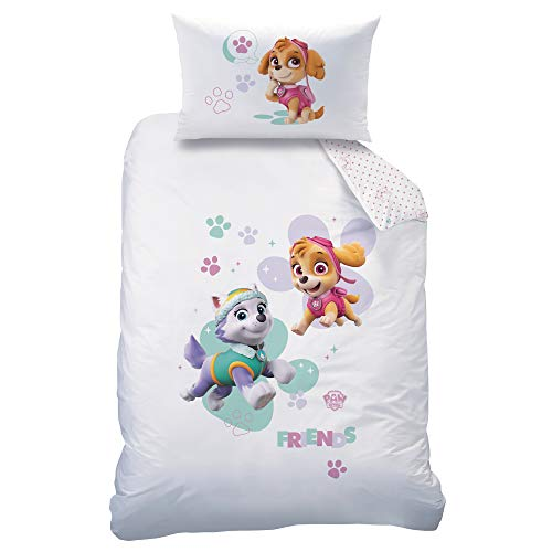 Arle-Living - Juego de ropa de cama para bebé (3 piezas, reversible, 100 x 135 cm y 40 x 60 cm), diseño de La Patrulla Canina, color blanco