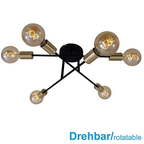 Briloner Leuchten Luz de Techo, para 6, Brazos giratorios, máx. 60 vatios, no Incluye Bombillas, Negro-Mate-Dorado, W