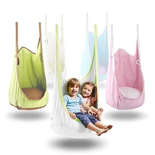 HappyPIE Hängehöhle,Hängesessel,Hängematten aus Baumwolle ideal,Indoor und Outdoor Geeignet für Kinder und Erwachsene (Weiß)
