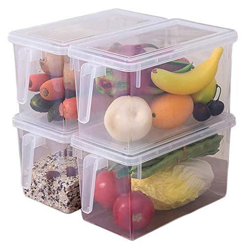 Xnuoyo Contenitori per La Conservazione in Plastica Riutilizzabili, Organizzatore per La Conservazione degli Alimenti Scatole per Frigorifero Impilabili Contenitori da Cucina con Coperchio-4PCS