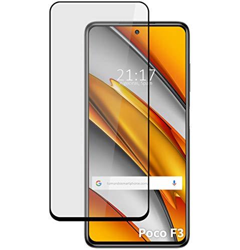Protector Cristal Templado Completo 5D Full Glue Negro para Xiaomi Poco F3